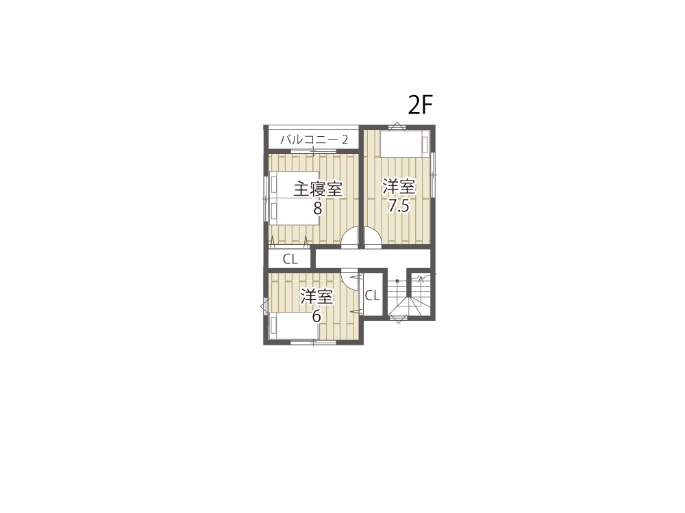 大津市土地「グリーンパーク下阪本」20号地参考プラン2F間取り図