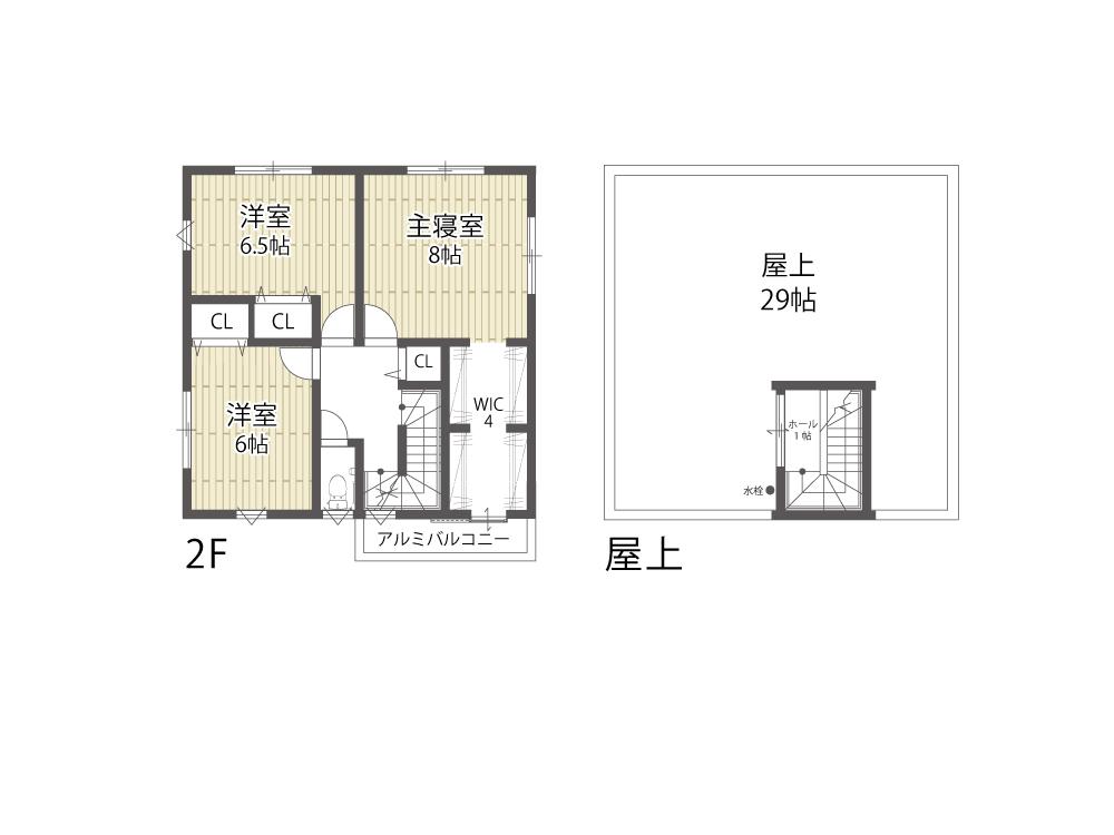 大津市建売住宅「のぞみが丘関津」79号地間取り図2Fと屋上