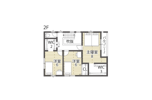 草津市新築建売住宅「グリーンパーク南草津」2号地間取り図2F