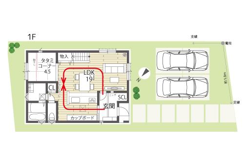 草津市新築建売住宅「グリーンパーク南草津」2号地間取り図1F