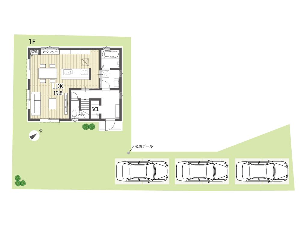 守山市建売住宅「グリーンパーク播磨田」36号地間取り図1F