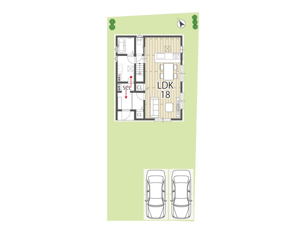 栗東市建売住宅「グリーンパーク川辺5期」17号地間取り図1F