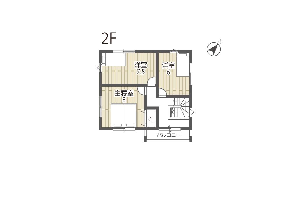 近江八幡市参考プラン「グリーンパーク丸の内町」1号地間取り図2F