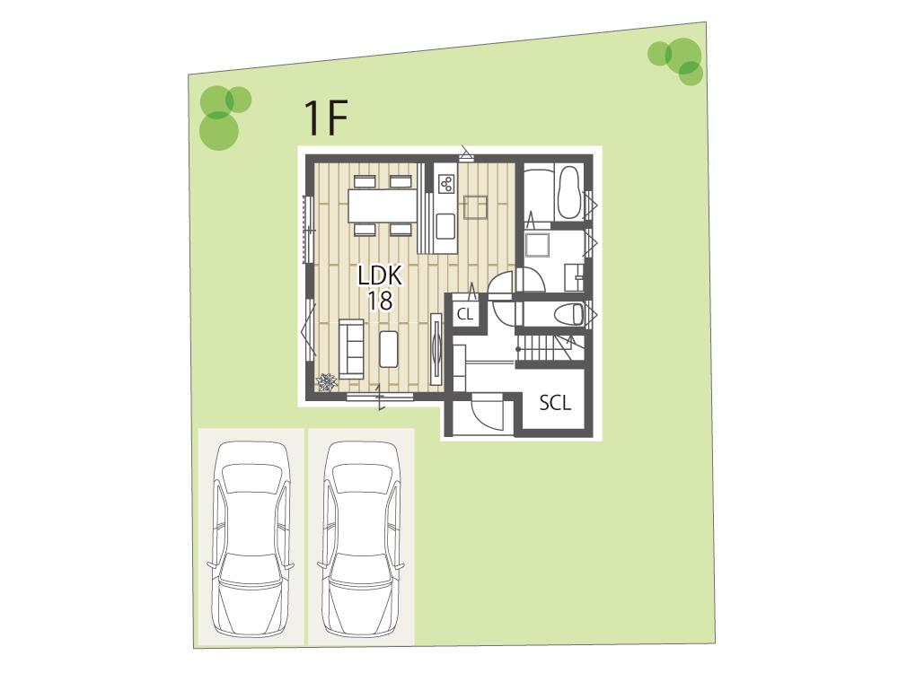 近江八幡市参考プラン「グリーンパーク丸の内町」1号地間取り図1F