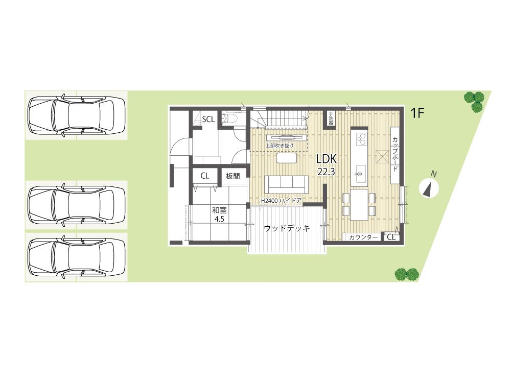 大津市新築建売住宅「のぞみが丘関津」66号地間取り図1F