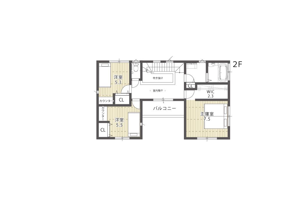 大津市新築建売住宅「のぞみが丘関津」66号地間取り図2F