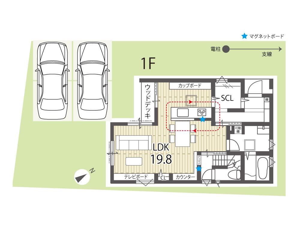 栗東市新築一戸建て「グリーンパーク川辺」25号地間取り図1F