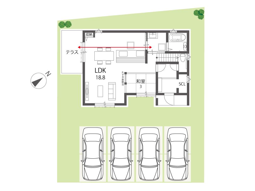 近江八幡市新築一戸建て「グリーンパーク丸の内町」1号地間取り図1F
