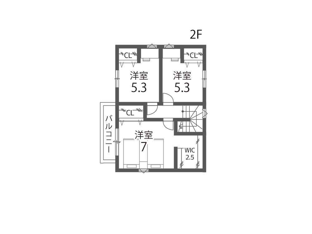大津市市新築一戸建て「グリーンパーク平津」間取り図2F