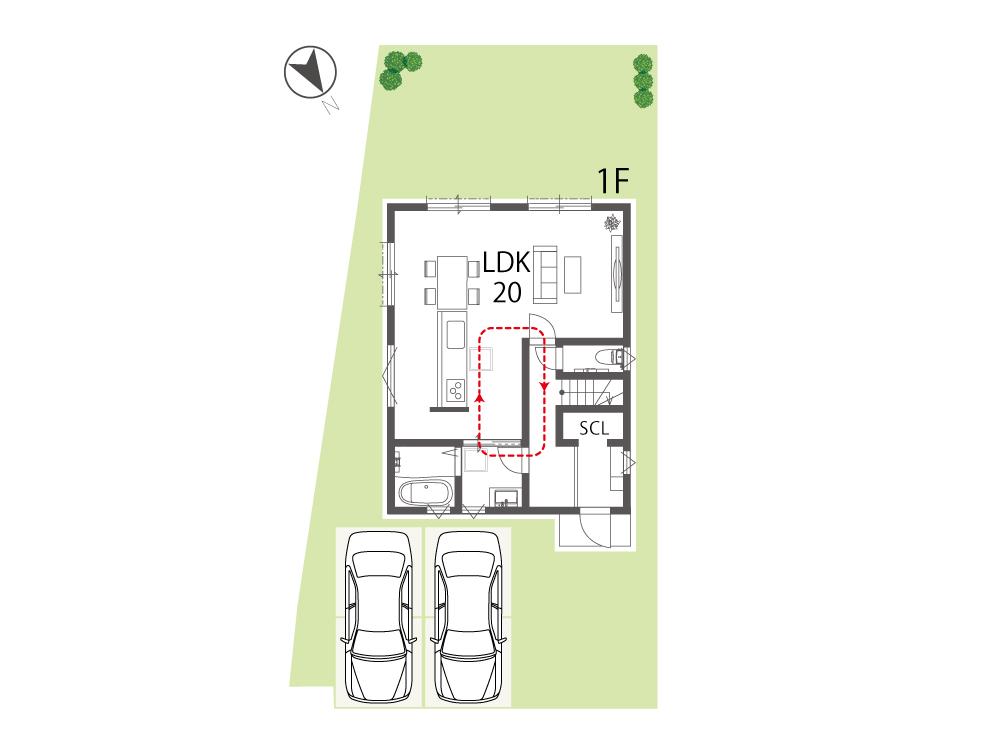 大津市新築一戸建て「グリーンパーク下阪本」20号地間取り図1F