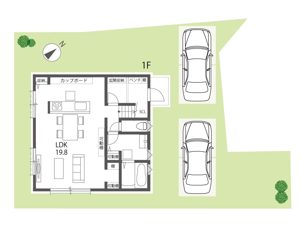 野洲市建売住宅「グリーンパーク西河原」13号地間取り図1F