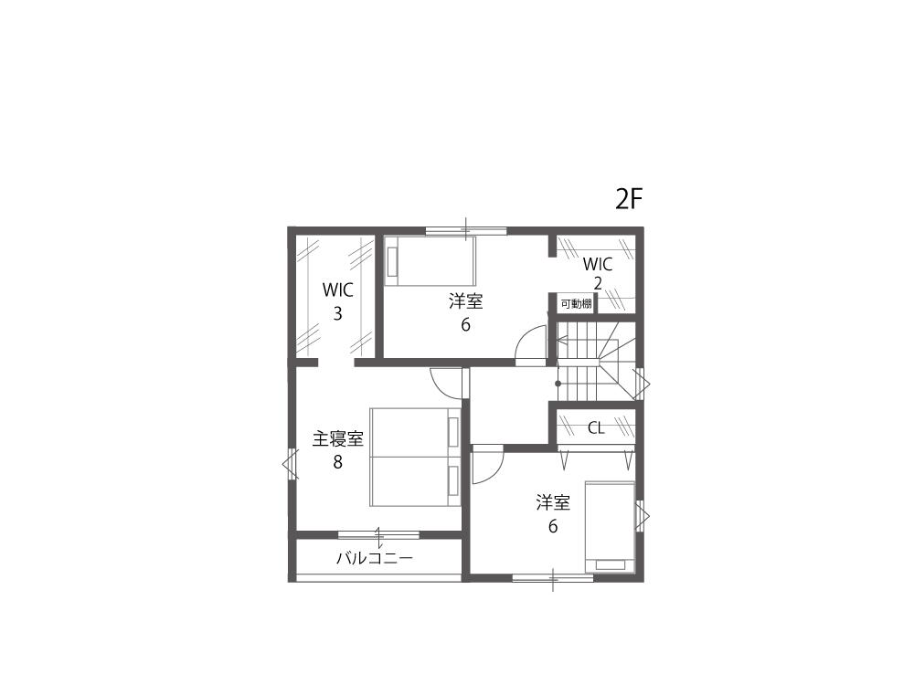 野洲市建売住宅「グリーンパーク西河原」13号地間取り図2F