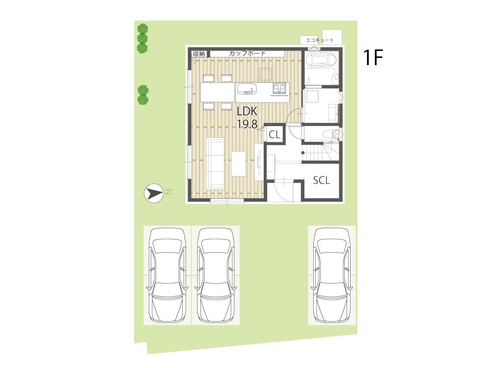 大津市新築一戸建て「のぞみが丘関津」30号地間取り図1F