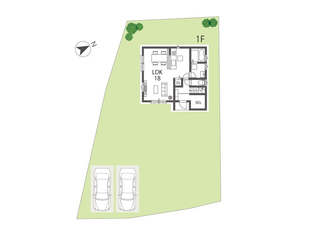 守山市土地「グリーンパーク十二里町」1号地参考プラン1F間取り図