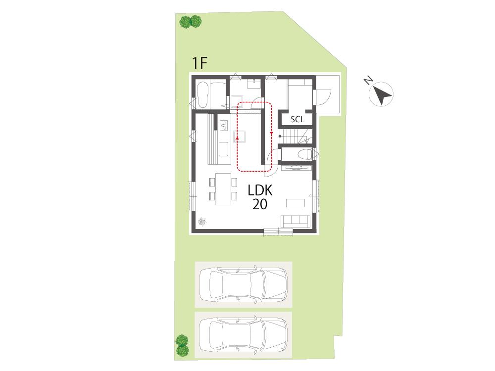 栗東市建売住宅「グリーンパーク下鈎」2号地間取り図1F