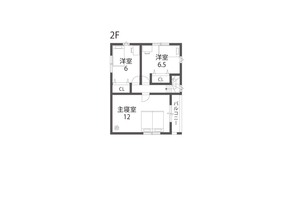 栗東市建売住宅「グリーンパーク下鈎」2号地間取り図2F