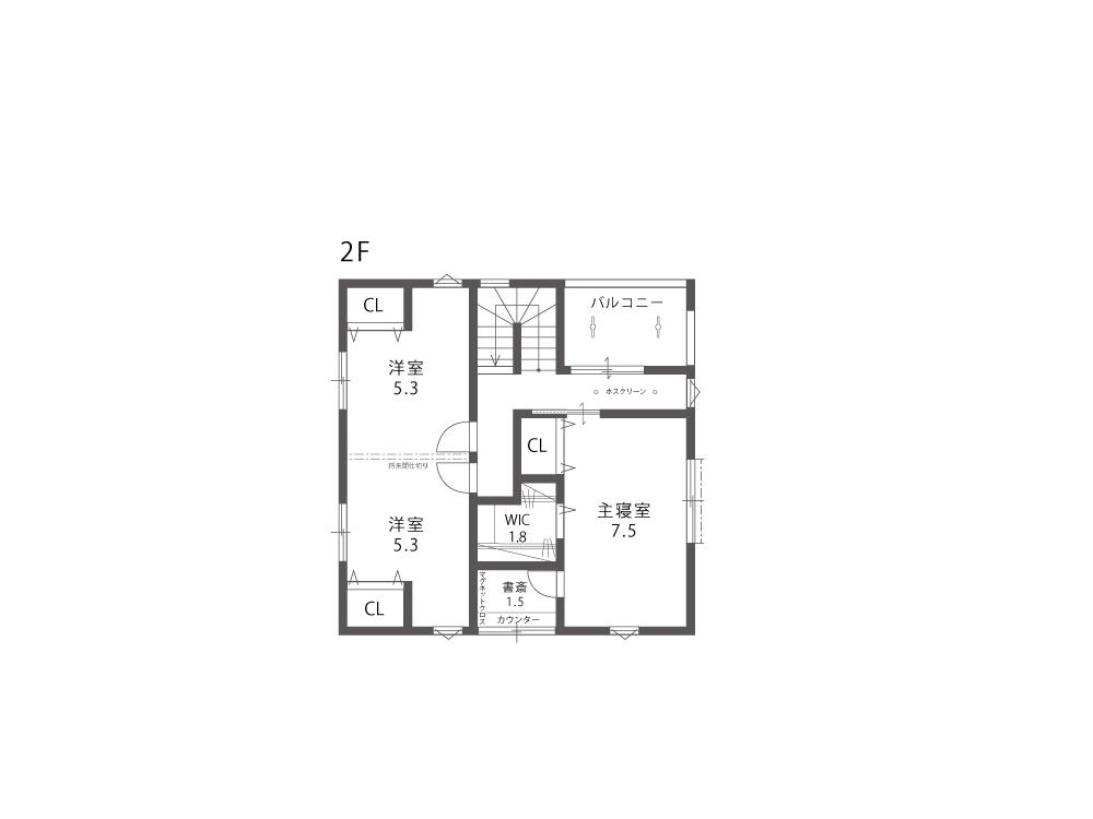 大津市新築戸建て「のぞみが丘関津」76号地間取り図2F