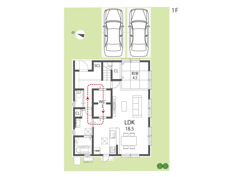 大津市新築戸建て「のぞみが丘関津」76号地間取り図1F